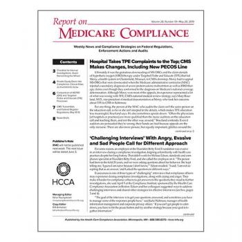 Report on Medicare Compliance Volume 28, Number 19  May 20